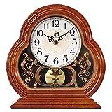 NNIU Retro-Tischuhr Kaminuhr, europäische Non-Ticking Silent für Schlafzimmer Wohnzimmer Uhr (Farbe : Holzfarbe)