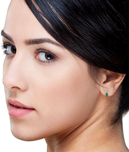ffbe1b99c4 Miore Orecchini Donna Piccoli a Lobo con Diamanti taglio Brillante Smeraldo  Oro Bianco 9 Kt / 375