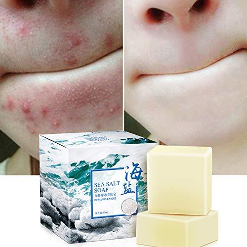 Amyove Sea Salt Soap Cleaner Removal Pimple Pores Tratamiento para el acné Leche de cabra Hidratante Cuidado facial Jabón