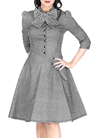 MIUSOL Women's Vintage 1950s Checked Short Sleeve Bow Tie Collor A Line Skirt Front Buttons Details Swing Party Dress Size XX_Large/UK 16