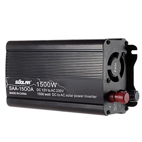 Anself 1500W/1200W/1000W/800W/500W DC12V to AC220-240V AC Household Solar Power Inverter Converter Modified Sine Wave Form