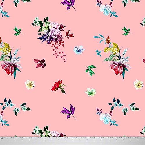 Soimoi 44 Zoll breit Georgette Stoff mit Blumenmustern Schneiderei Stoff durch die Meter - Peach (Peach Georgette)