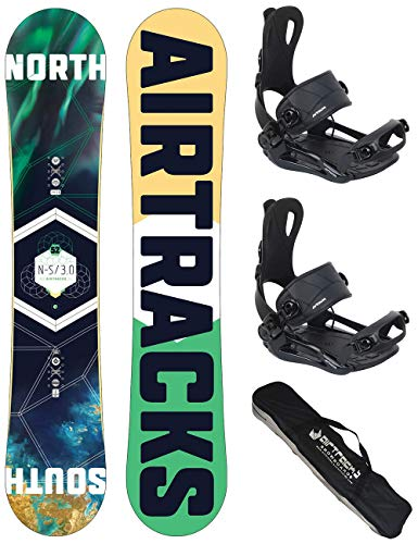 Airtracks snowboard set tavola north south uomo 152cm+attacchi master fastec m+sb sacca/nuovi
