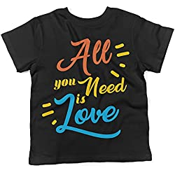 "Camiseta para bebés ""All you Need is Love "" - Baby T-shirt hippie LaMAGLIERIA, 3-6 meses, Negro"