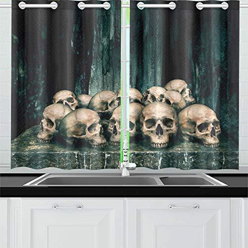 WDDHOME Haufen menschlicher Schädel auf Steintisch Küche Vorhänge Fenster Vorhang Stufen für Café, Bad, Wäscherei, Wohnzimmer Schlafzimmer 26 x 39 Zoll 2 Stück