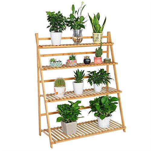 WOLTU Escalera para Flores de Bambú Estantería para Plantas con 4 Niveles Naturaleza 100 x 43.9 x 120.7cm RG9347br