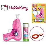 Set infantil niños con diferentes motivo con pistola de pompas - Hello Kitty