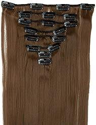 S-noilite - 8 Extensions 58 cm cheveux lisses et souples à clipser - extensions cheveux clips naturel-châtain clair