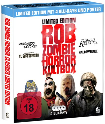 Rob Zombie Horror Kultbox (Limited Edition mit 4 Kult-Horror-Hits auf Blu-ray, Sammelschuber und - Halloween-rob Zombie-film-poster