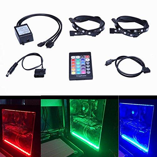 Tingkam® 2pcs 18w 30cm RGB 5050 SMD LED Streifen Stripes Full Kit mit 24 Tasten Fernbedienung für Desktop PC Computer Mid Tower Gehäuse