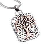 AnazoZ Collier Arbre de la vie collier de Urne Collier de cendres Collier pendentif acier inoxydable collier argent or rose