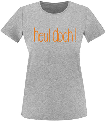 EZYshirt Heul doch ! Damen Rundhals T-Shirt Grau/Orange