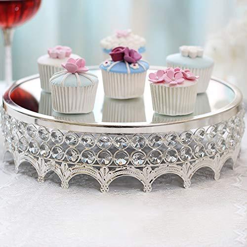 YJIUJIU Kuchenständer, Tortenplatte Servierständer Dessert mit Kristall Anhänger, Hochzeits-Geburtstagsfeier-Kuchen-Ausstellungsstand - 12 Zoll Durchmesser