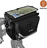 Bike Handlebar Bag, BV Bicycle Front Frame Map Sleeve Quick-Release Pouch with Two Mesh Pockets, for MTB, Road