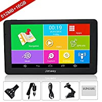 SAT NAV GPS Navigation System, Jimwey 7 Inch Bluetooth Android 16GB 512MB Capacitive HD Touch Screen Car Truck Lorry Satellite Navigator Device with Post Code Search Speed Camera Alerts, Include Pre-installed UK and EU Latest 2018 Maps with Lifetime Free
