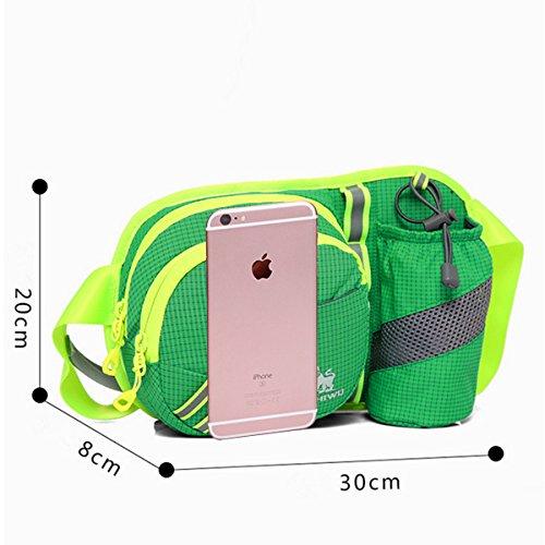 HongXing Bauchtasche, Hip Pack Running Tasche Taille Running Gürtel Sack wasserabweisend mit Flasche (nicht im Lieferumfang enthalten) Halter für Wandern Camping Hund Walking Nylon Stoff farbenreiche grasgrün