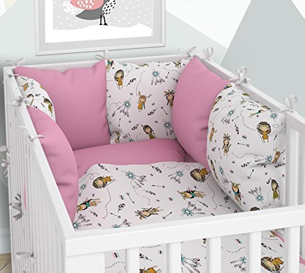 sechs Kissen samt Bez/ügen f/ür das Babybett 70x140 cm Babybett-W/äsche 100x135 cm mit Spannbettlaken und Kissen-Nestchen 3-teiliges Set