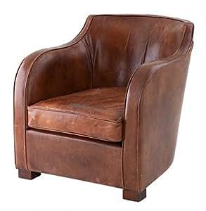 Chesterfield Fauteuil à oreilles Vintage en Écosse luxe en cuir Marron tabac Casa Padrino-Fauteuil Club