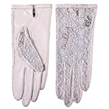 WARMEN Gothic Medival Lolita Ladies Nappa Leather&Lace Unlined Gloves
