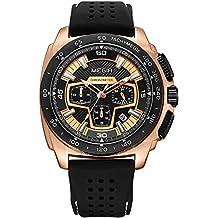 Para hombre Sport cronógrafo reloj de pulsera de cuarzo banda de silicona militar 24horas reloj para niños calendario FECHA