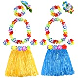 FEPITO 2 Conjunto Falda Hula de Hierba Hawaiana con Flor Leis Collar Diadema Pulseras Vestido de Traje Conjunto para niñas Mujer Luau Falda de Danza Hawaiana Favores de Fiesta