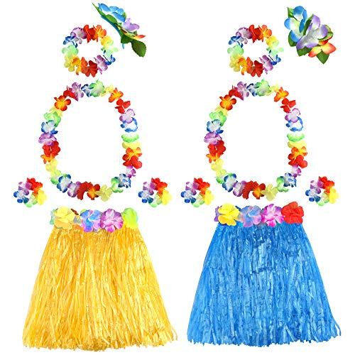 8b450b143 FEPITO 2 Conjunto Falda Hula de Hierba Hawaiana con Flor Leis Collar  Diadema Pulseras Vestido de