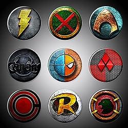 "DC Comics superhéroes imanes/pins Aquaman negro Canarias capitán Marvel Shazam Marciano Manhunter Cyborg Harley Quinn Hawkman Deathstroke Robin imanes de nevera 1,75""o 1"", puertas, Imán, 1.75 Inches"