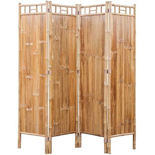 VidaXL Biombo 4 Paneles Bambú Marrón Separador Divisor