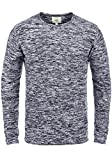 Redefined Rebel Millard Herren Strickpullover Feinstrick Pullover mit Rundhals und Melierung aus 100% Baumwolle, Größe:XL, Farbe:Navy w. Offwhite