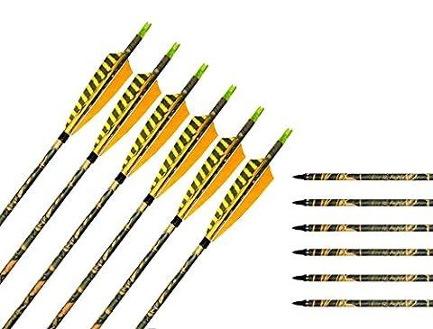 Flèche en Carbon Mixte Bangta, 31 pouces, 3 pièces de plume de dinde, Pointe de flèche remplaçable, Flèche pour l'extérieur et pour la chasse, Tir à l'Arc, Sports et loisirs (12 pièce)