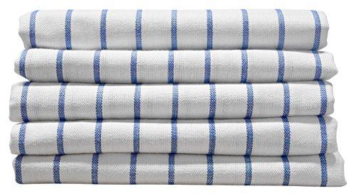 5er-Set Geschirrtücher blau-weiß-kariert - Spültücher - Küchenhandtuch - Trockentuch - Handtuch für Küche - Küchentextilien - 100% Baumwolle Küche Geschirrtuch Creme