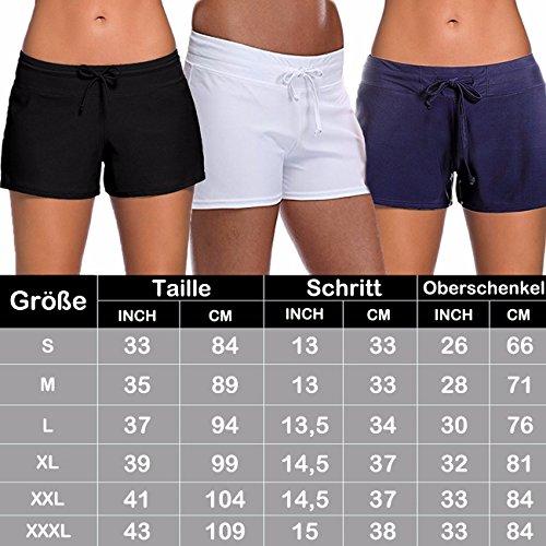 Damen Einfarbig Badeshorts Elasthan Bikinihose Modell Großformat Bikinislip Bottom Weiß