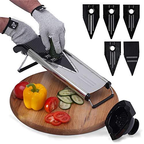 Mrsliu taglia verdure 5 in 1 È realizzato in acciaio inossidabile di alta qualità, l'affettatrice per verdure ha lame in acciaio inossidabile molto affilate che non richiedono affilatura.