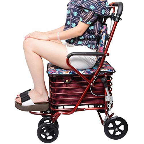WANGXN Rollators 4 Wheel Folding mit Untersitzkorb und Seat Rollators 4 Wheel für ältere Menschen