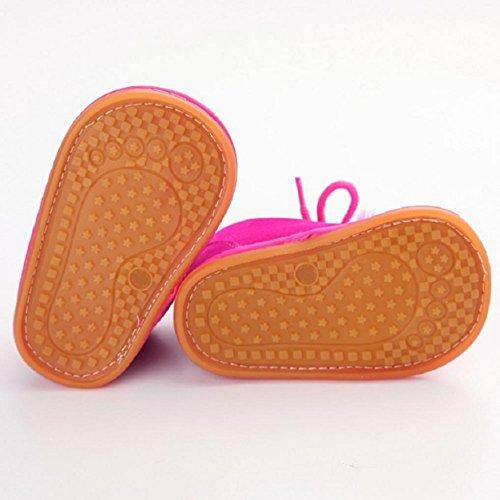 OverDose Baby-Kleinkind -Säuglings Schnee Stiefel Schuhe Gummisohle Prewalker Krippe Schuhe 0-6 Monate 6-12 Monate 12-18 Monate Hot Pink