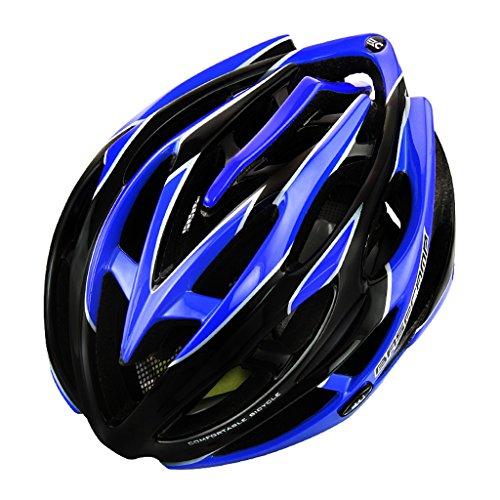 Eco-Friendly Super Light Integrally Abnehmbare Hut mit Heckleuchte Helm Bike Helm, verstellbare leichte Mountain Road Bike Helme für Männer und Frauen ( Color : Black blue )