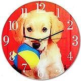 Wanduhr aus Glas Hund mit Ball