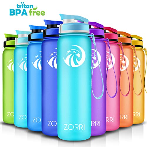 ZORRI Sport Trinkflasche auslaufsicher, BPA Frei & Umweltfreundlich Wasserflasche Für Kinder & Frauen, One Handed Open & Tritan, Für Gym/Outdoor/Camping - Hellblau - 800ml