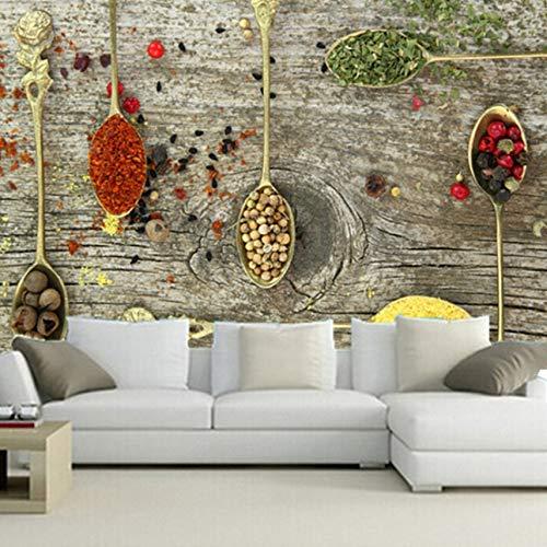 VVNASD 3D Wandbilder Tapete Dekorationen Aufkleber Wand Gewürz Löffel Lebensmittel Küchen Kaffeestube Hintergrund Kunst Kinder Schlafzimmer (W) 300X(H) 210Cm