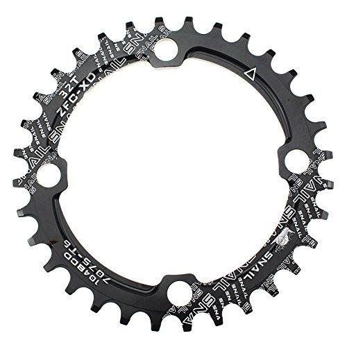 CYSKY 32T Schmale Breite Kettenblatt 104 BCD Einzelkettenblatt mit 9 10 11 Geschwindigkeit für Rennrad Mountainbike BMX MTB (Schwarz)