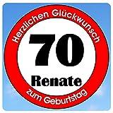 bedrucktes Aluschild 305 x 305 mm - Motiv Geburtstag 70 mit Wunschnamen und Wunschalter