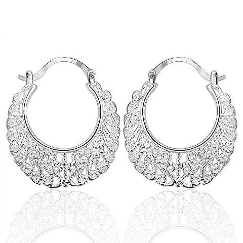 BODYA Elegant Bohemian Filigree Oval Floral clock top huggie hoop Earrings silver Tone