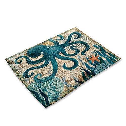 OLDK Miracille 2/4 / 6pieces Set Küchentischsets Baumwolle Leinen Serviette Marine Sea Turtle Octopus Pattern Dekorative Tischsets, C, 6Pieces -