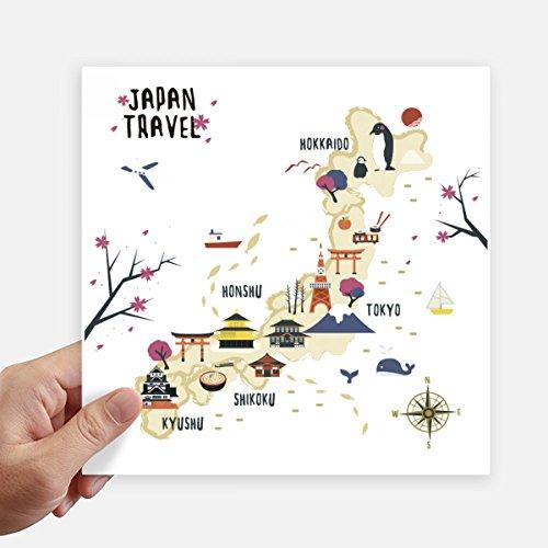 DIYthinker Viajar Japonesa Mapa Local de Square Stickers 20cm Pared Maleta portátil Motobike Decal 4 Piezas 20cm x 20cm