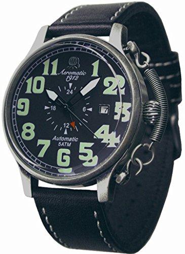 Aeromatic 1912 A1423 - Reloj , correa de cuero color negro
