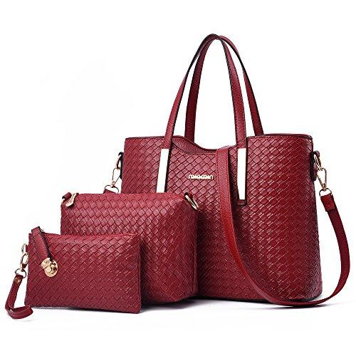 Damen Handtasche, Mode PU Lackleder Tasche mit Alligator Muster, 3-teiliges Set mit Crossbody Tasche und Geldbeutel/ Leder Handtasche + Schultertasche + Geldbeutel 3pcs Beutel Rot