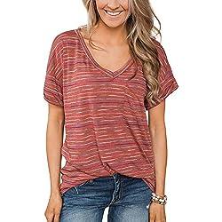 Lover-Beauty Camisa Mujer Raya Cuello Redondo Manga Corta Casual Suelto Blusa Rojo y Top Azul Jersey Stripe Shirt Verano Playa y Fiesta Top Verano Mujer Camiseta Verano Mujer