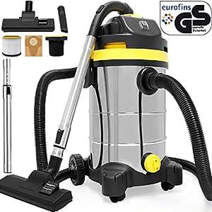 Aspirateur eau et poussière avec accessoires capacité 30L en acier inoxydable