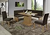 Dreams4Home Eckbankgruppe 'Mesa' Essgruppe 160 x 140 x 88 cm Tisch 2 Stühle modern Buche Dekor braun beige Eckbank Küchentisch 4-teilig Landhaus Küche