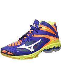 Mizuno Men's Wave Lightning Z3 Mid Volleyball Shoes, Bleu/Blanc/Jaune